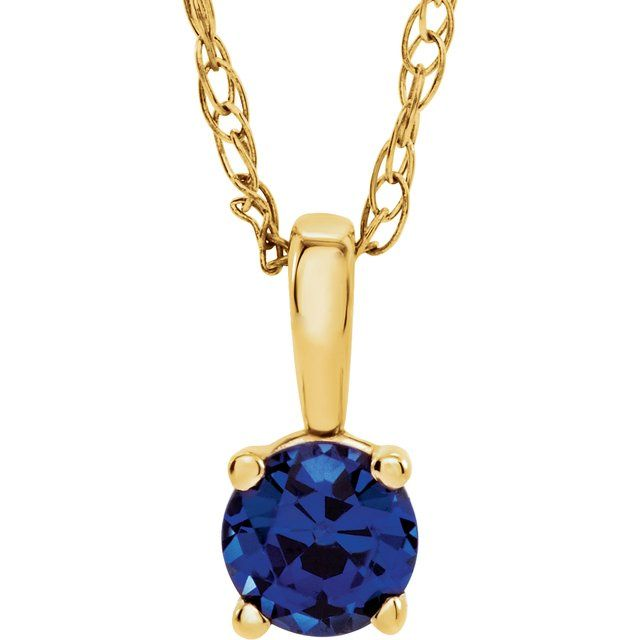 "14K Yellow 3 mm Round September Genuine Blue Sapphire Youth Birthstone 14"" Necklace"