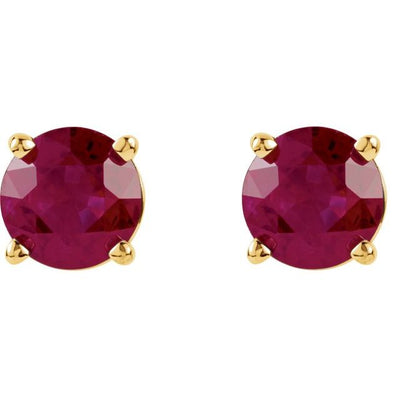 14K Yellow 5 mm Round Chatham® Created Ruby Earrings