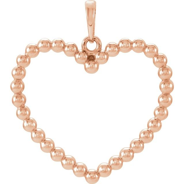 14K Rose Beaded Heart Pendant