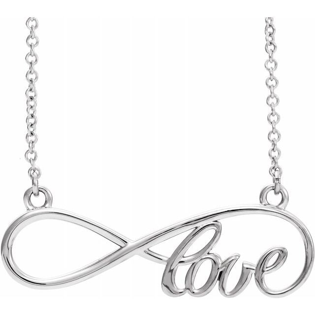 "14K White 27.5x8.4 mm Infinity-Inspired Love 17"" Necklace"