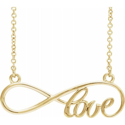 "14K Yellow 27.5x8.4 mm Infinity-Inspired Love 17"" Necklace"