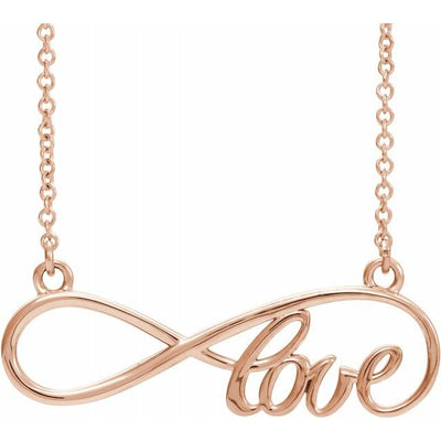 "14K Rose 27.5x8.4 mm Infinity-Inspired Love 17"" Necklace"