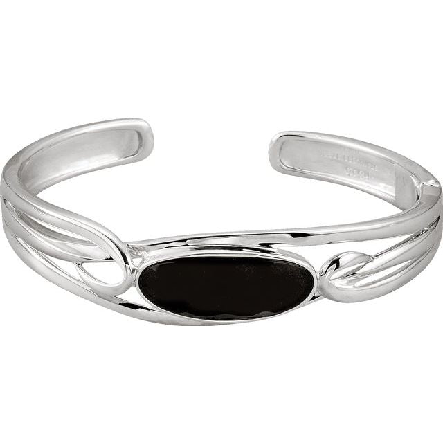 Sterling Silver Onyx Hinged Cuff Bracelet