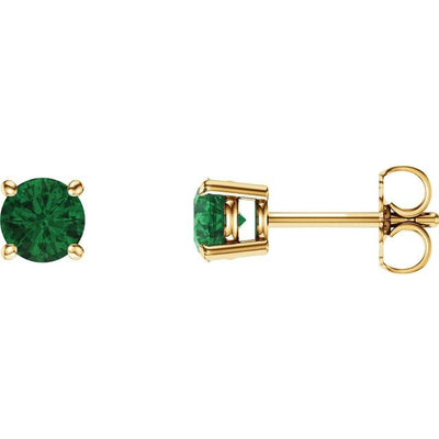 14K Yellow 5 mm Round Chatham® Created Emerald Earrings