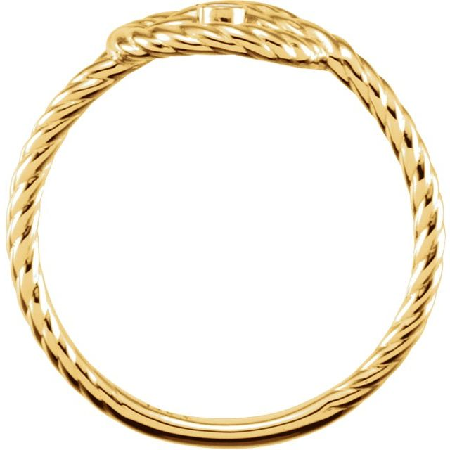 14K Yellow .025 CTW Diamond Rope Knot Ring Size 7