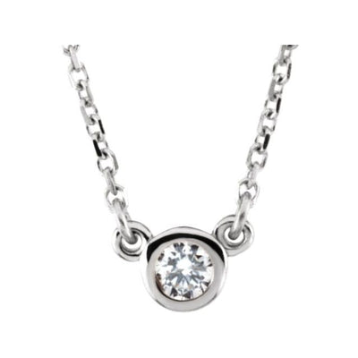 "Sterling Silver 4 mm Round Imitation Diamond Bezel-Set Solitaire 16"" Necklace"