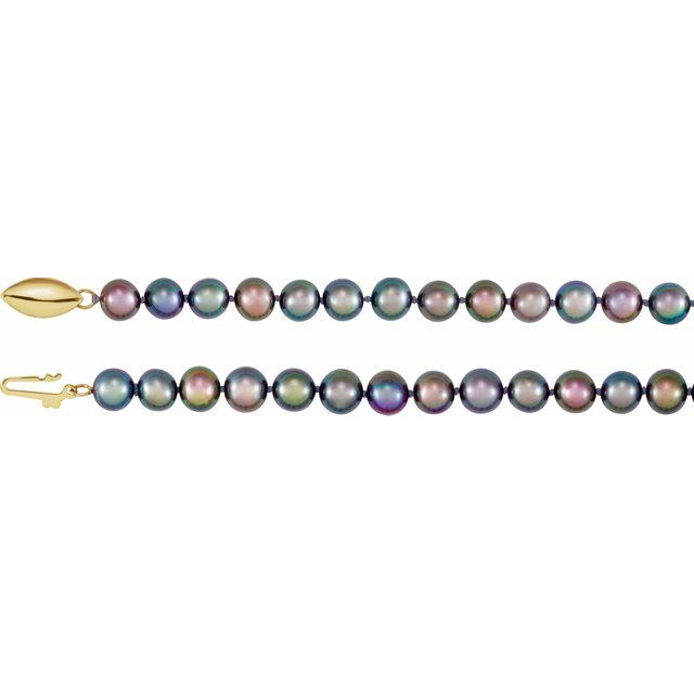 "14K Yellow Freshwater Cultured Black Pearl 16"" Necklace"