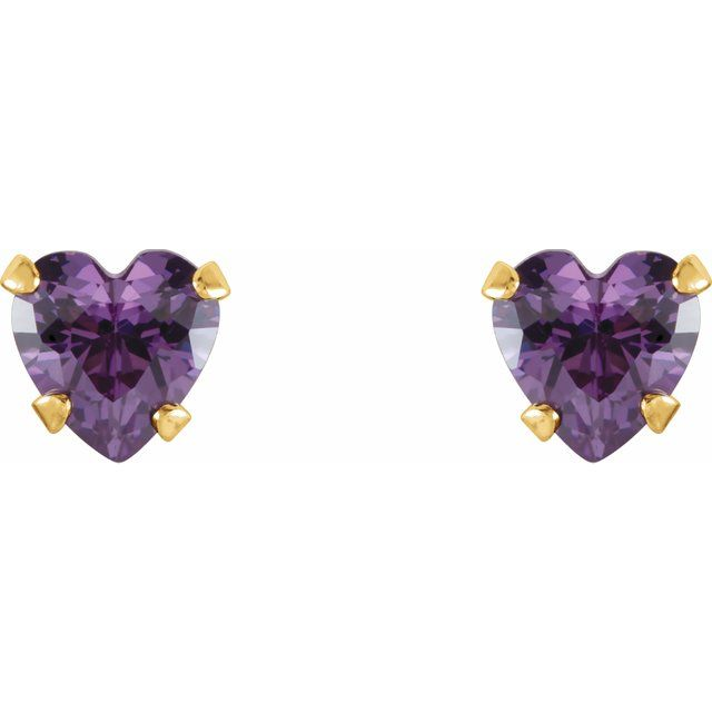 14K Yellow 4x4 mm Heart Amethyst Youth Stud Earrings