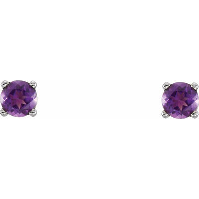 Sterling Silver 3 mm Round Imitation Amethyst Youth Birthstone Earrings
