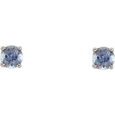 14K White 3 mm Round Imitation Alexandrite Youth Birthstone Earrings