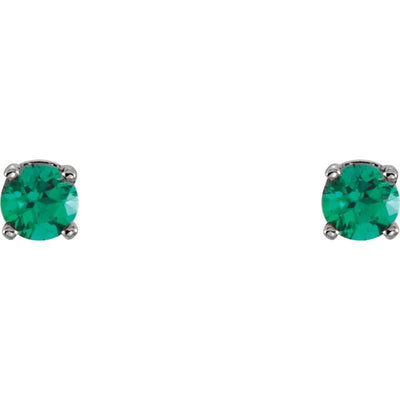 Sterling Silver 3 mm Round Imitation Emerald Youth Birthstone Earrings