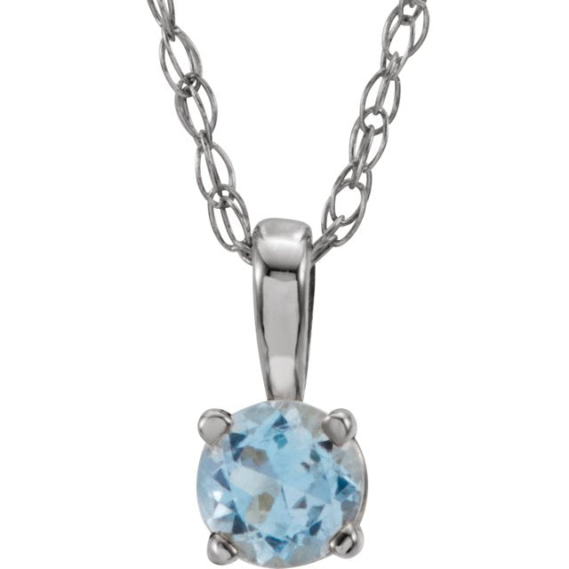 "14K White 3 mm Round March Imitation Aquamarine Youth Birthstone 14"" Necklace"