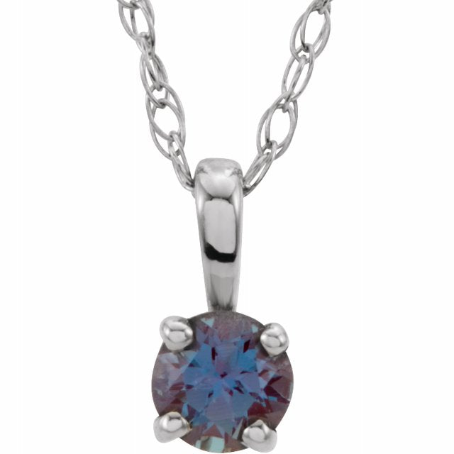 "Sterling Silver 3 mm Round June Imitation Alexandrite Youth Birthstone 14"" Necklace"