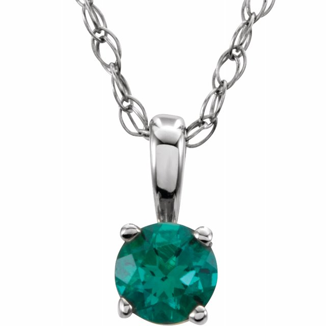 "Sterling Silver 3 mm Round May Imitation Emerald Youth Birthstone 14"" Necklace"