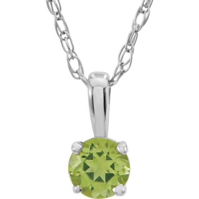 "Sterling Silver 3 mm Round August Imitation Peridot Youth Birthstone 14"" Necklace"