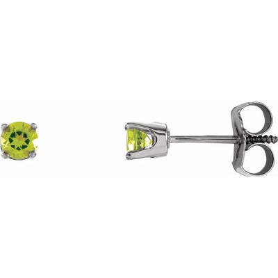 Sterling Silver 3 mm Round Imitation Peridot Youth Birthstone Earrings
