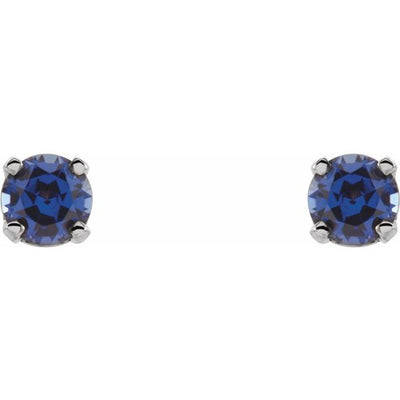 14K White 3 mm Round Imitation Blue Sapphire Youth Birthstone Earrings