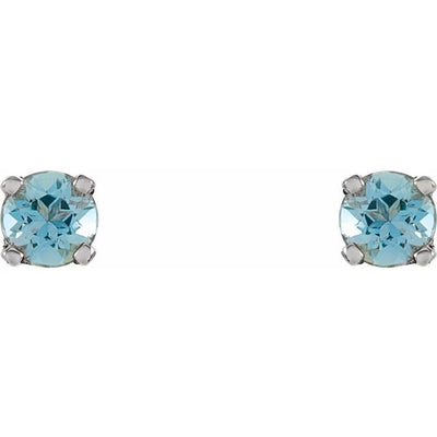 Sterling Silver 3 mm Round Imitation Aquamarine Youth Birthstone Earrings