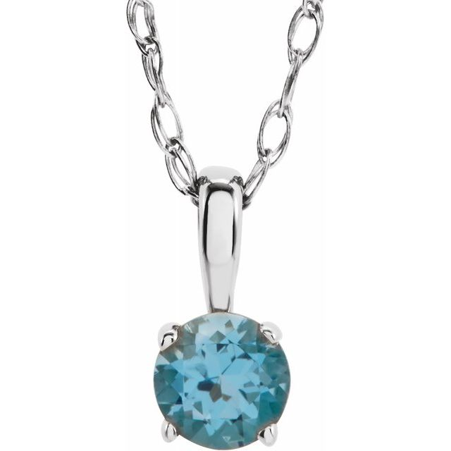 "Sterling Silver 3 mm Round December Imitation Blue Zircon Youth Birthstone 14"" Necklace"