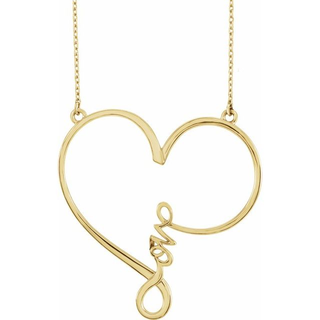 "14K Yellow 34x33 mm Infinity-Inspired Love Heart 18"" Necklace"