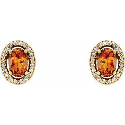 14K Yellow Citrine & 1/10 CTW Diamond Earrings