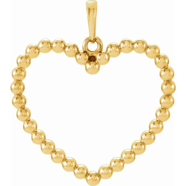 14K Yellow Beaded Heart Pendant