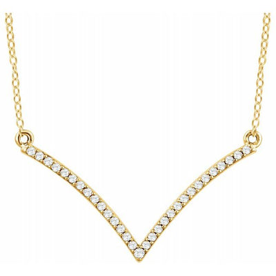 "14K Yellow 1/6 CTW Diamond ""V"" 18"" Necklace"