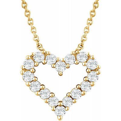 "14K Yellow 1/4 CTW Diamond Heart 18"" Necklace - TreasureFineJeweler"
