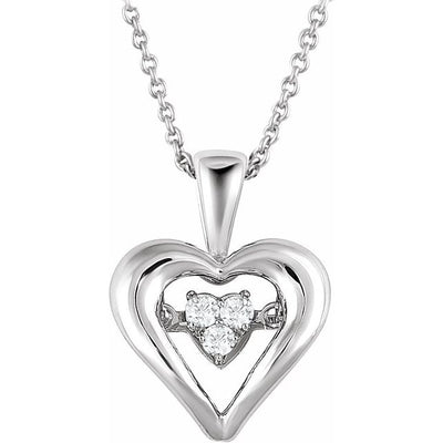 "Sterling Silver 1/10 CTW Diamond Heart Mystara® 18"" Necklace"