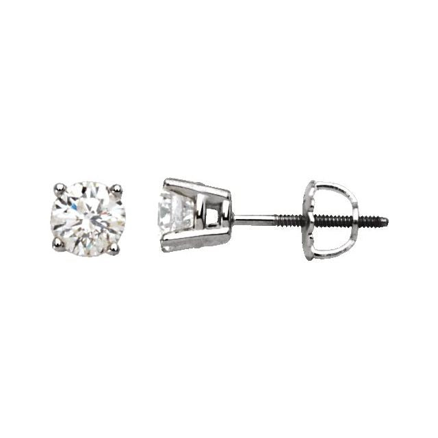 14K White 3/4 CTW Diamond Stud Earrings