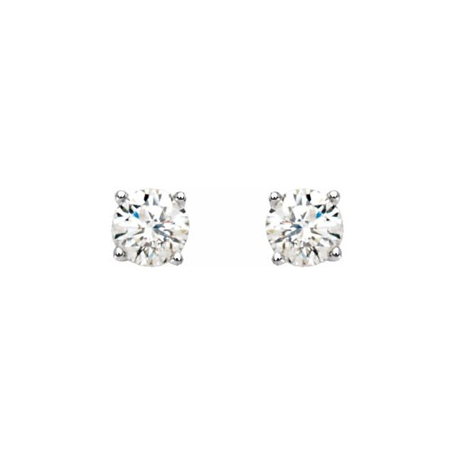 14K White 1/5 CTW Diamond Stud Earrings