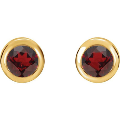 14K Yellow 4 mm Round Genuine Mozambique Garnet Birthstone Earrings