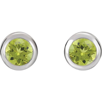 14K White 4 mm Round Genuine Peridot Birthstone Earrings