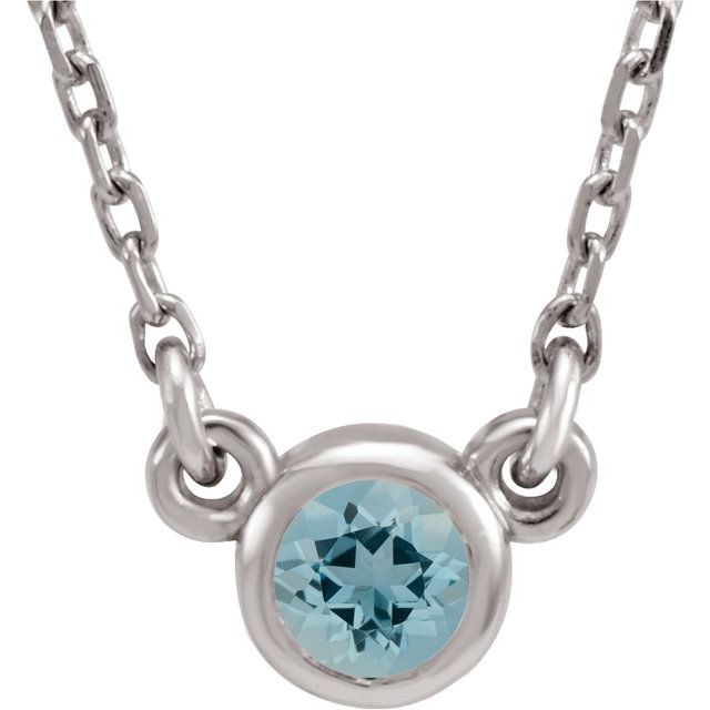 "Sterling Silver 4 mm Round Imitation Aquamarine Bezel-Set Solitaire 16"" Necklace"