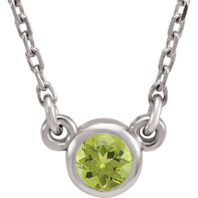 "Sterling Silver 4 mm Round Imitation Peridot Bezel-Set Solitaire 16"" Necklace"