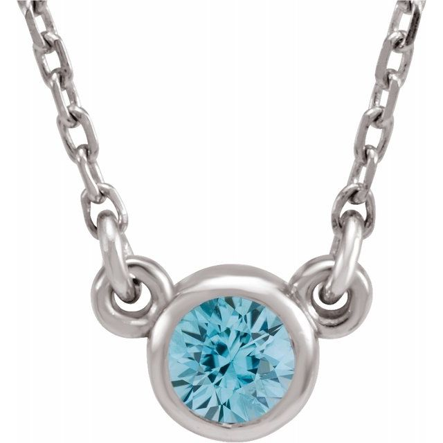 "Sterling Silver 3 mm Round Blue Zircon Bezel-Set Solitaire 16"" Necklace"