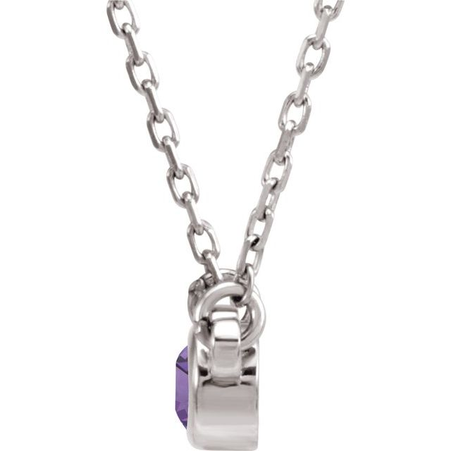 "Sterling Silver 3 mm Round Amethyst Bezel-Set Solitaire 16"" Necklace"