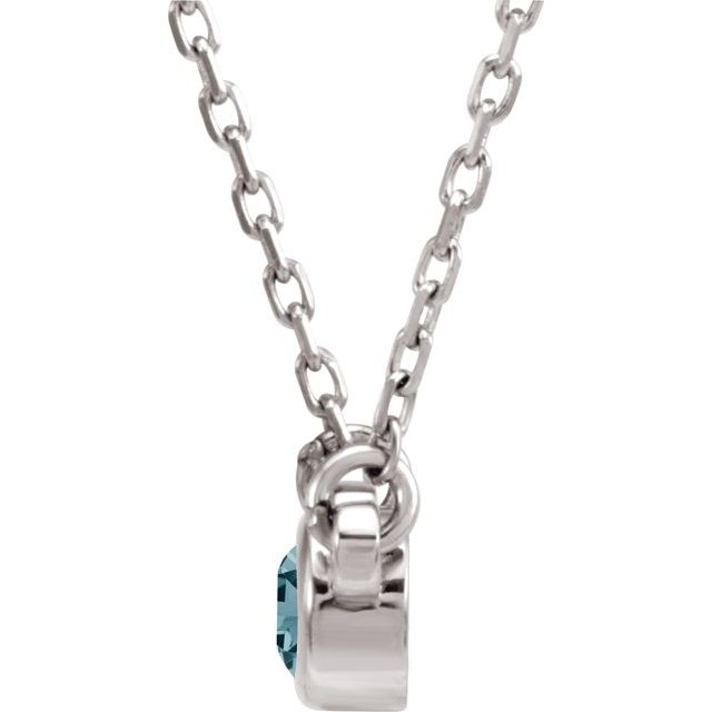 "Sterling Silver 3 mm Round Aquamarine Bezel-Set Solitaire 16"" Necklace"