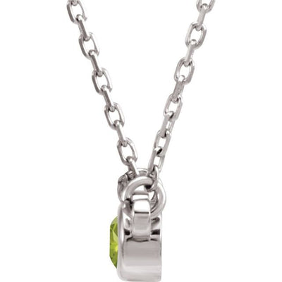 "14K White 4 mm Round Peridot Bezel-Set Solitaire 16"" Necklace"
