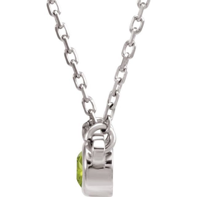 "Sterling Silver 3 mm Round Peridot Bezel-Set Solitaire 16"" Necklace"