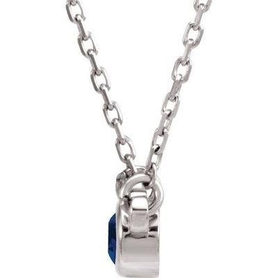 "Sterling Silver 3 mm Round Chatham® Lab-Created Blue Sapphire Bezel-Set Solitaire 16"" Necklace"