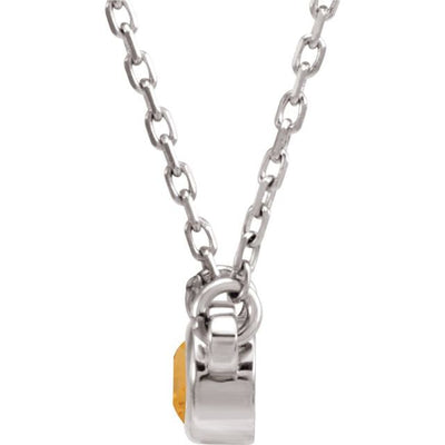 "Sterling Silver 3 mm Round Citrine Bezel-Set Solitaire 16"" Necklace"