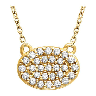 "14K Yellow 1/5 CTW Diamond Oval Cluster 16-18"" Necklace - TreasureFineJeweler"