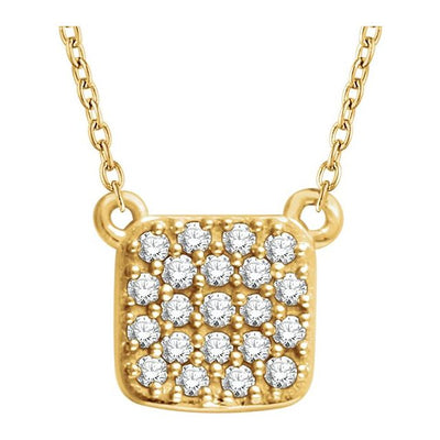 "14K Yellow 1/6 CTW Diamond Square Cluster 16-18"" Necklace"