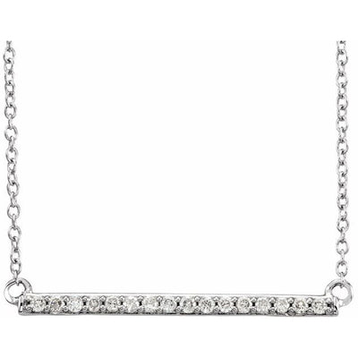 "14K White 1/6 CTW Diamond Bar 18"" Necklace - TreasureFineJeweler"