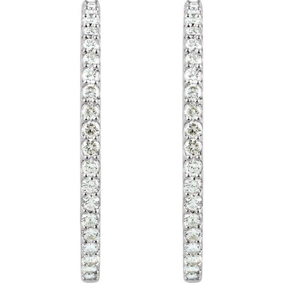 14K White 6 1/4 CTW Diamond Inside-Outside 51 mm Hoop Earrings