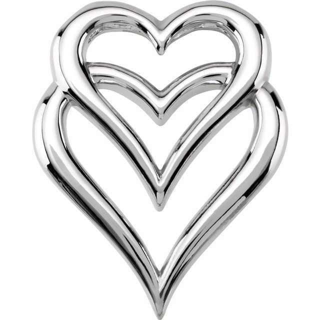 14K White Double Heart Slide Pendant