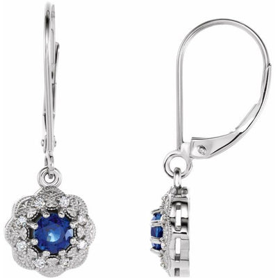 14K White Blue Sapphire & 1/10 CTW Diamond Halo-Style Earrings