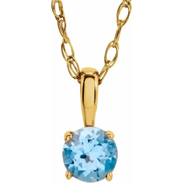 "14K Yellow 3 mm Round December Imitation Blue Zircon Youth Birthstone 14"" Necklace"