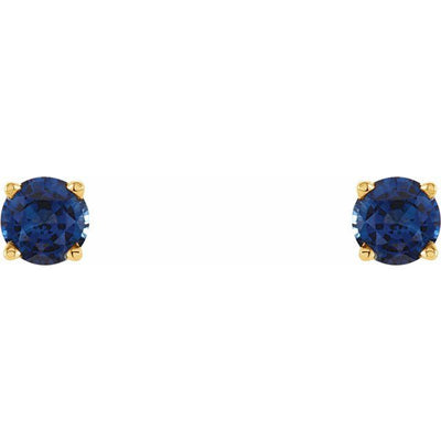 14K Yellow 4 mm Round Chatham® Created Blue Sapphire Earrings